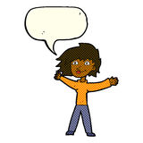 Cartoon excited woman waving with speech bubble Stock Photography