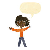 Cartoon excited woman waving with speech bubble Royalty Free Stock Photography