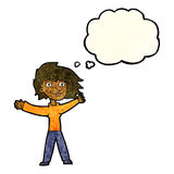 cartoon excited woman waving with thought bubble Royalty Free Stock Photo