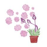 cartoon excotic flowers Stock Photo