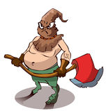 Cartoon Executioner with a large Axe. Cartoon Executioner with a large Axe, Vector Illustration  on White Background Royalty Free Stock Images