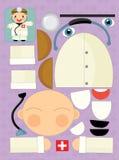 Cartoon exercise with scissors for childlren - doctor Stock Photo