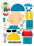 Cartoon exercise with scissors for childlren - mechanic Royalty Free Stock Photos