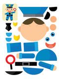 Cartoon exercise with scissors for childlren - policeman Royalty Free Stock Images