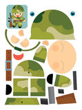 Cartoon exercise with scissors for childlren - soldier Stock Image