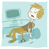 Cartoon exhausted employee. Sleeping on the chair royalty free illustration