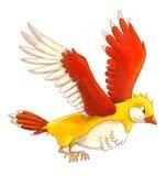 Cartoon exotic colorful bird - flying -  Stock Image