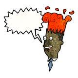 Cartoon exploding head man Stock Photography