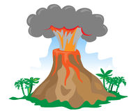 Cartoon exploding volcano. Exploding volcano on white background Stock Image