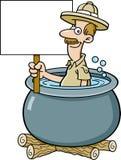 Cartoon explorer in a cooking pot holding a sign. Cartoon illustration of an explorer in a cooking pot holding a sign Stock Images