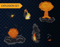 Cartoon explosion animation effect set with smoke. Cartoon explosion animation effect set with smoke Royalty Free Stock Photo