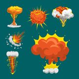 Cartoon explosion boom effect animation game sprite sheet explode burst blast fire comic flame vector illustration. Military destruction design aggression Royalty Free Stock Image