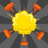 Cartoon explosion boom effect animation game sprite sheet explode burst blast fire comic flame vector illustration. Military destruction design aggression Stock Photos