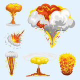 Cartoon explosion boom effect animation game sprite sheet explode burst blast fire comic flame vector illustration. Military destruction design aggression Stock Photography