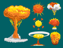 Cartoon explosion boom effect animation game sprite sheet explode burst blast fire comic flame vector illustration. Military destruction design aggression Royalty Free Stock Photography