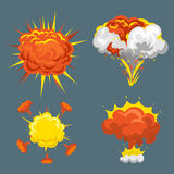 Cartoon explosion boom effect animation game sprite sheet explode burst blast fire comic flame vector illustration. Stock Photography