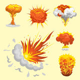 Cartoon explosion boom effect animation game sprite sheet explode burst blast fire comic flame vector illustration. Military destruction design aggression Royalty Free Stock Images