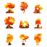Cartoon explosion effect set. Explode flash, effect boom, bomb comic, mushroom fire. Vector. Cartoon explosion effect set. Explode flash, effect boom, bomb Royalty Free Stock Images