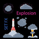 Cartoon explosion effect with smoke. Effect boom, explode flash, bomb comic, vector illustration. Animation frames for game Royalty Free Stock Images