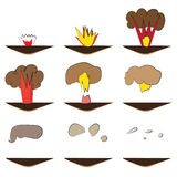 Cartoon explosion effect with smoke. Illustration in vector. Animation frames for game Stock Images