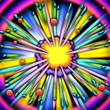 Cartoon explosion frame. A colorful cartoon explosion with a striped border royalty free illustration
