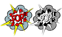 Cartoon explosion pop-art style. Isolated on white Stock Photography