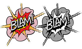 Cartoon explosion pop-art style. Isolated on white Royalty Free Stock Photography