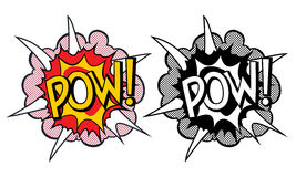 Cartoon explosion pop-art style. Isolated on white Royalty Free Stock Photos