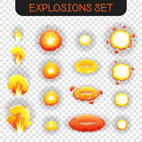 Cartoon Explosion Transparent Set. Bright orange and yellowe cartoon explosion effects of different size and shape for flash animation isolated on transparent Royalty Free Stock Photo