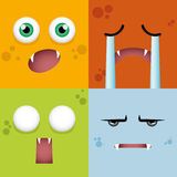 Cartoon Expression face. Abstract expression face background with some special objects stock illustration