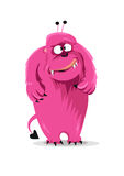 Cartoon expression  pink monster on white background. Vector illustration Stock Photography
