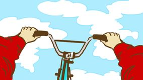 Cartoon Extreme Cycling Trick. Person`s point of view bicycling. Extreme Cycling Trick. Person`s point of view bicycling. A man on a bicycle. Cartoon color Stock Photos