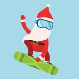 Cartoon extreme Santa snowboarder winter sport Royalty Free Stock Photos