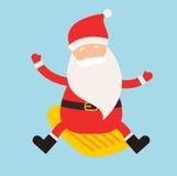 Cartoon extreme Santa winter sport illustration. Santa Claus winter sport  on white. Winter sport collection. Santa healthy, Santa cloth, Santa red hat, Santa Royalty Free Stock Images