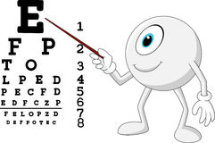 Cartoon eye ball optician pointing to Snellen chart Royalty Free Stock Images