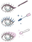 Cartoon eye makeup: eyeliner, mascara, eye shadow Stock Images