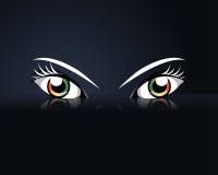 Cartoon eyes. On black background Royalty Free Stock Photo