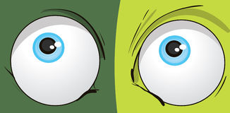 Cartoon Eyes. Illustration on green background Royalty Free Stock Images