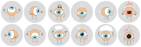 Cartoon eyes with different expressions, showing the side, educa. Tion, power, status, emotions. Vector Royalty Free Stock Photo