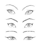 Cartoon eyes set Stock Photography