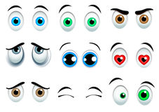 Cartoon eyes set. 9 Cartoon eyes set on white background vector illustration