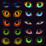 Cartoon eyes vector devil eyeballs of beast or monster and animals scary expressions with evil eyebrow and eyelashes. Illustration set of vampire eyesight Stock Photo