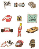 Cartoon f1 car icon. Drawing Stock Images