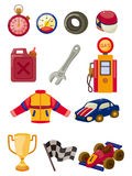 Cartoon f1 car racing icon set Royalty Free Stock Photos
