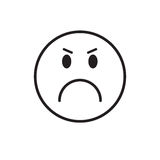 Cartoon Face Angry People Emotion Icon. Vector Illustration stock illustration