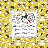 Cartoon face card Stock Images