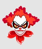 The cartoon face of the character Joker, as well as a creepy clown. Vector illustration on gray background. The cartoon face of the character Joker, as well as a vector illustration