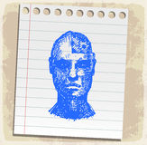 Cartoon face drawn on paper note, vector illustration Stock Photos
