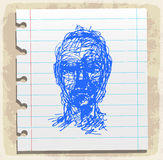 Cartoon face drawn on paper note, vector illustration Stock Images