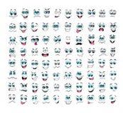 Cartoon face expressions set vector illustration